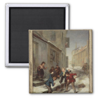 Children Chasing a Rat 2 Inch Square Magnet
