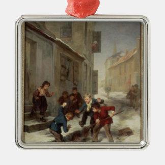 Children Chasing a Rat Metal Ornament