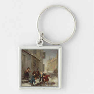 Children Chasing a Rat Silver-Colored Square Keychain