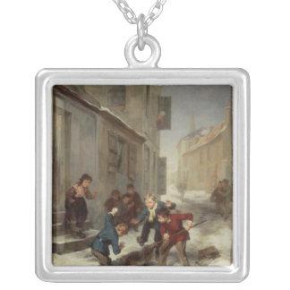 Children Chasing a Rat Square Pendant Necklace