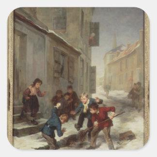 Children Chasing a Rat Square Sticker
