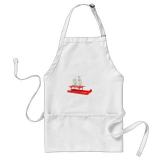 Children christmas figurines on red sleigh adult apron
