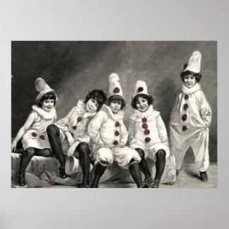 Children Clown Art Friedrich Kaulbach Cute Costume Print