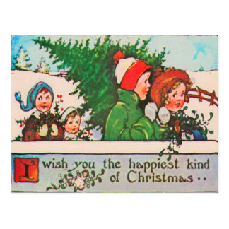 Children Collecting Holly & Christmas Tree Postcard