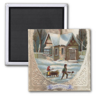 Children collecting wood on a sleigh 2 inch square magnet