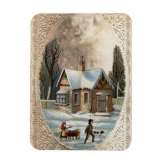 Children collecting wood on a sleigh magnet