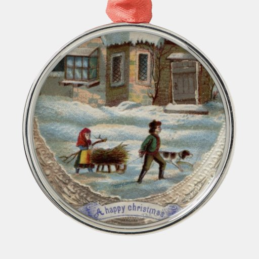 Children collecting wood on a sleigh ornaments