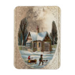 Children collecting wood on a sleigh rectangular magnets