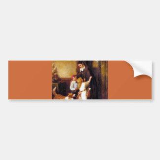 Children Collie Dog Home Welcome painting Bumper Sticker