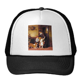 Children Collie Dog Home Welcome painting Hats