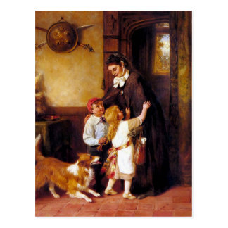 Children Collie Dog Home Welcome painting Postcard