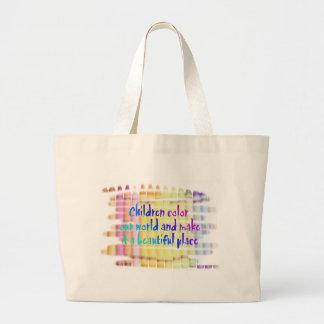 children color our world canvas bag