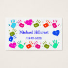 Children Colorful Hand Prints Calling Card