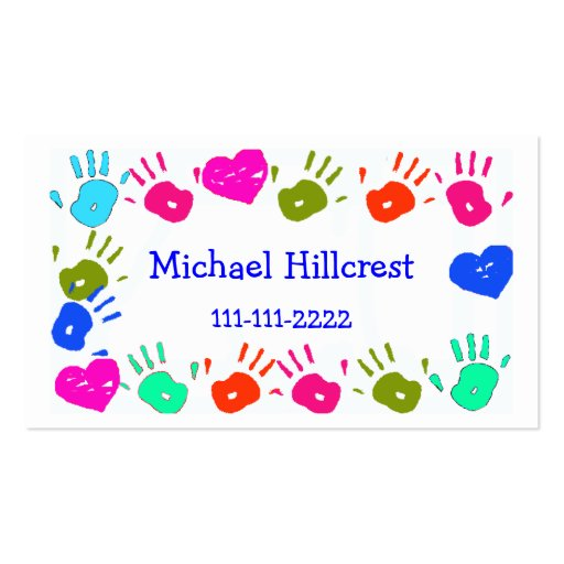 Children Colorful Hand Prints Calling Card Business Card Templates