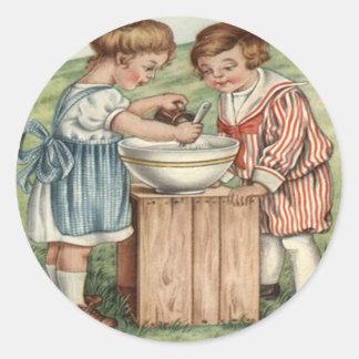 Children Cooking Baking Outdoors Classic Round Sticker