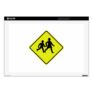 """Children Crossing, Traffic Sign, New Zealand Decals For 17"""" Laptops"""