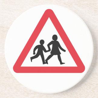 Children Crossing, Traffic Sign, UK Drink Coaster