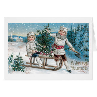 Cutting Down A Christmas Tree Cards - Greeting & Photo Cards | Zazzle