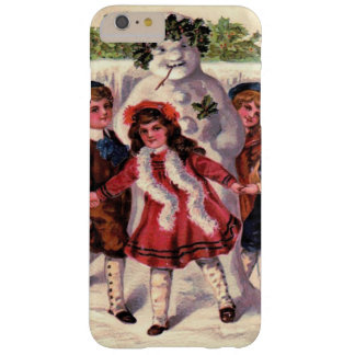 Children Dancing Snowman Wreath Holly Barely There iPhone 6 Plus Case