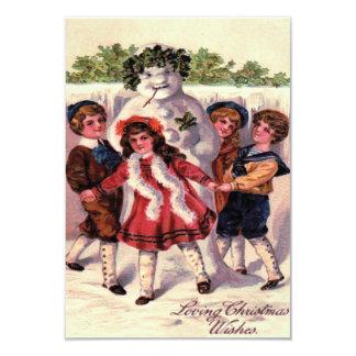 Children Dancing Snowman Wreath Holly Card