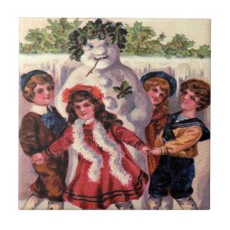 Children Dancing Snowman Wreath Holly Ceramic Tile