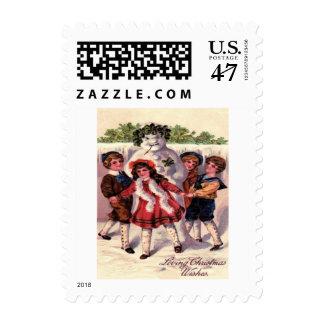 Children Dancing Snowman Wreath Holly Postage Stamp