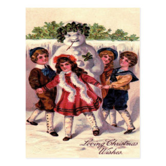 Children Dancing Snowman Wreath Holly Postcard