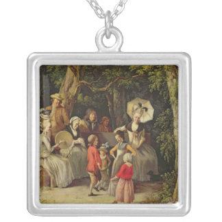 Children Dancing Square Pendant Necklace