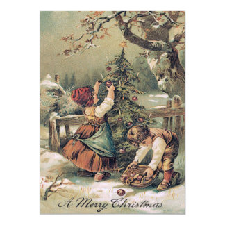 Children Decorating Christmas Tree Snow 5x7 Paper Invitation Card