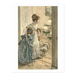 Children Dog Looking At Tree Postcards