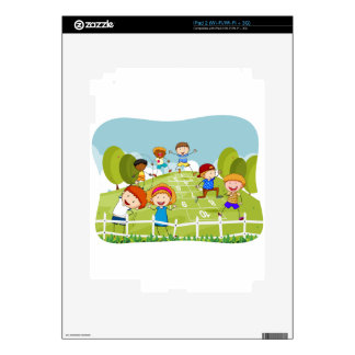 Children doing hopscotch in the park decal for iPad 2