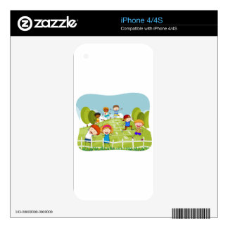 Children doing hopscotch in the park skins for the iPhone 4S