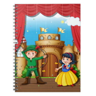 Children doing stage drama notebook