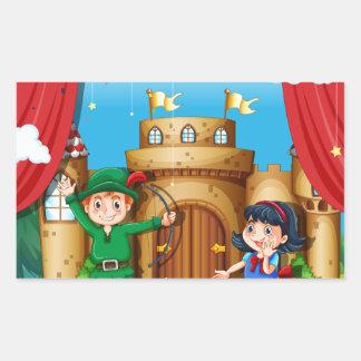 Children doing stage drama rectangular sticker
