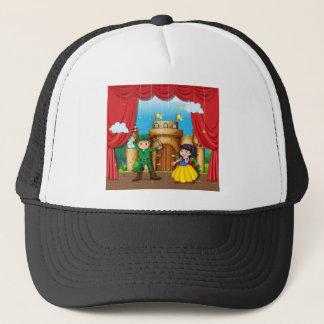 Children doing stage drama trucker hat