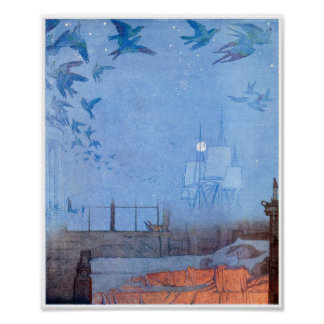 Children dreaming of birds and sails poster