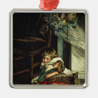 Children dreaming of toys metal ornament