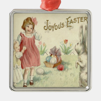 Children Easter Bunny Basket Colored Eggs Square Metal Christmas Ornament
