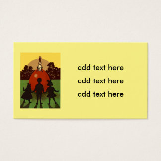 Children Easter Bunny Colored Egg Sunset Business Card