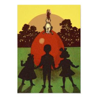 Children Easter Bunny Colored Egg Sunset Card