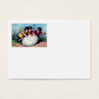 Children Easter Bunny Colored Painted Egg Business Card