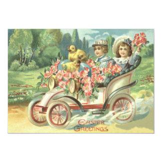 Children Easter Chick Vintage Car Floral Card