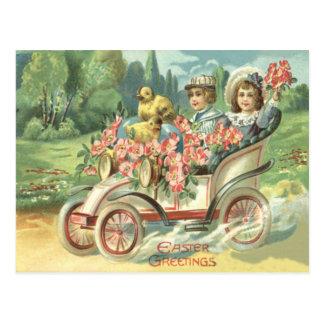 Children Easter Chick Vintage Car Floral Postcard