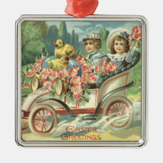 Children Easter Chick Vintage Car Floral Square Metal Christmas Ornament
