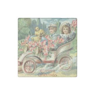 Children Easter Chick Vintage Car Floral Stone Magnet