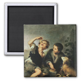 Children Eating a Pie, 1670-75 2 Inch Square Magnet