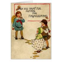 Children Eating & Playing Card