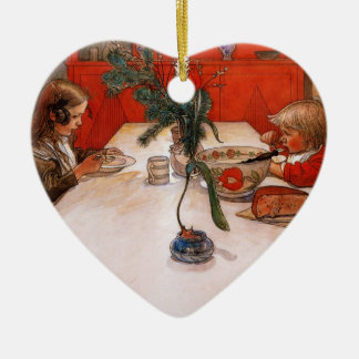 Children Eating Supper Ceramic Ornament
