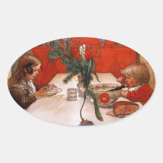 Children Eating Supper Oval Sticker