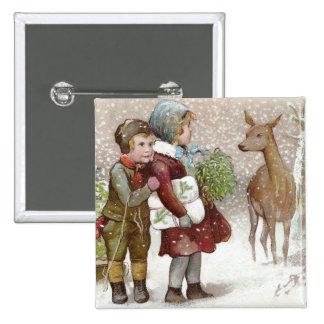 Children Encounter Deer on Snowy Day Vintage Pinback Button
